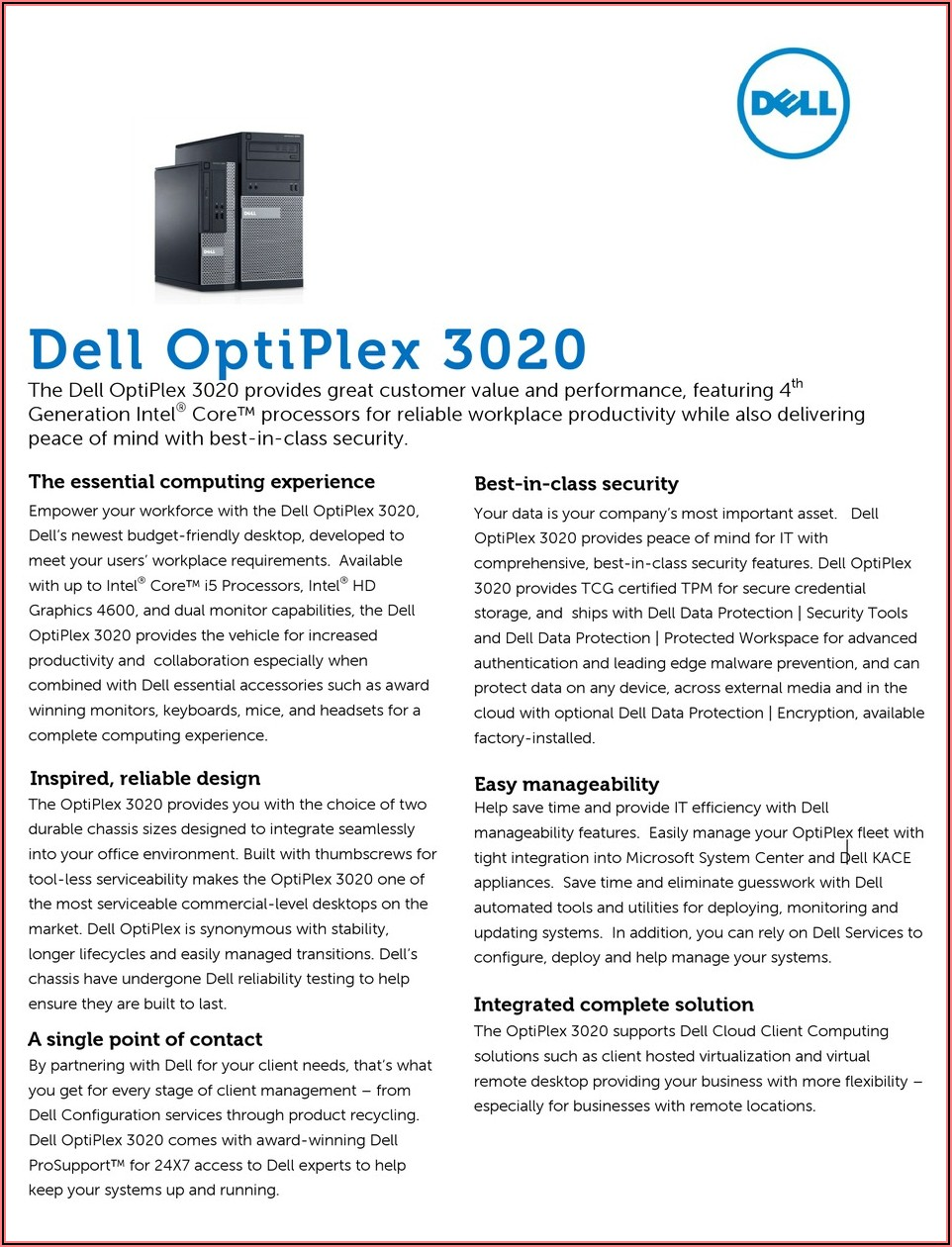 Dell 3020 Small Form Factor Specs