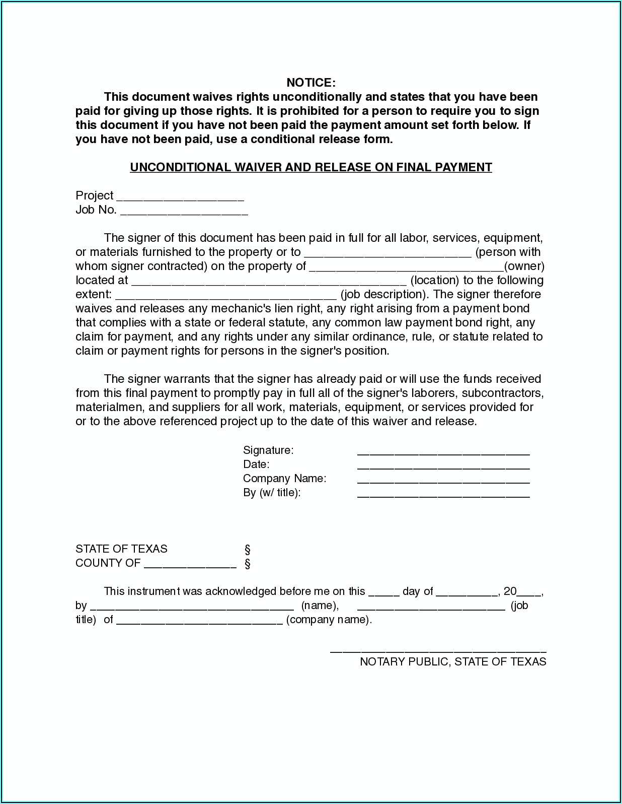 Divorce Fee Waiver Form Texas Pdf