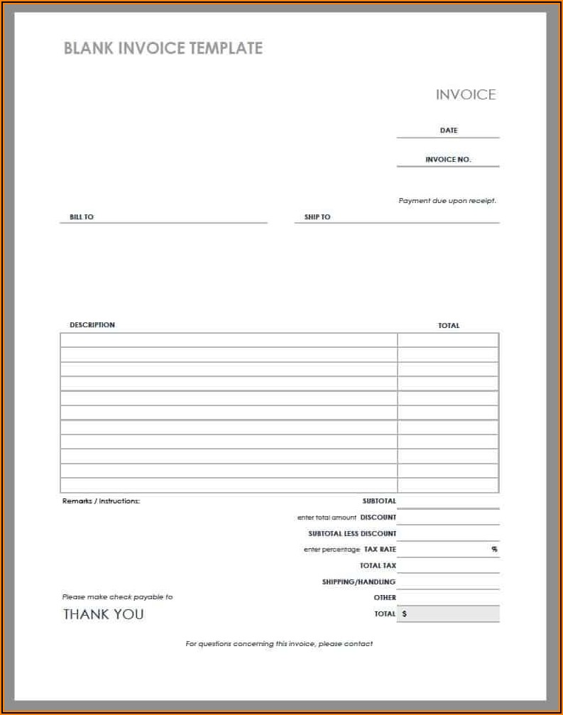 Download Free Blank Invoice Form