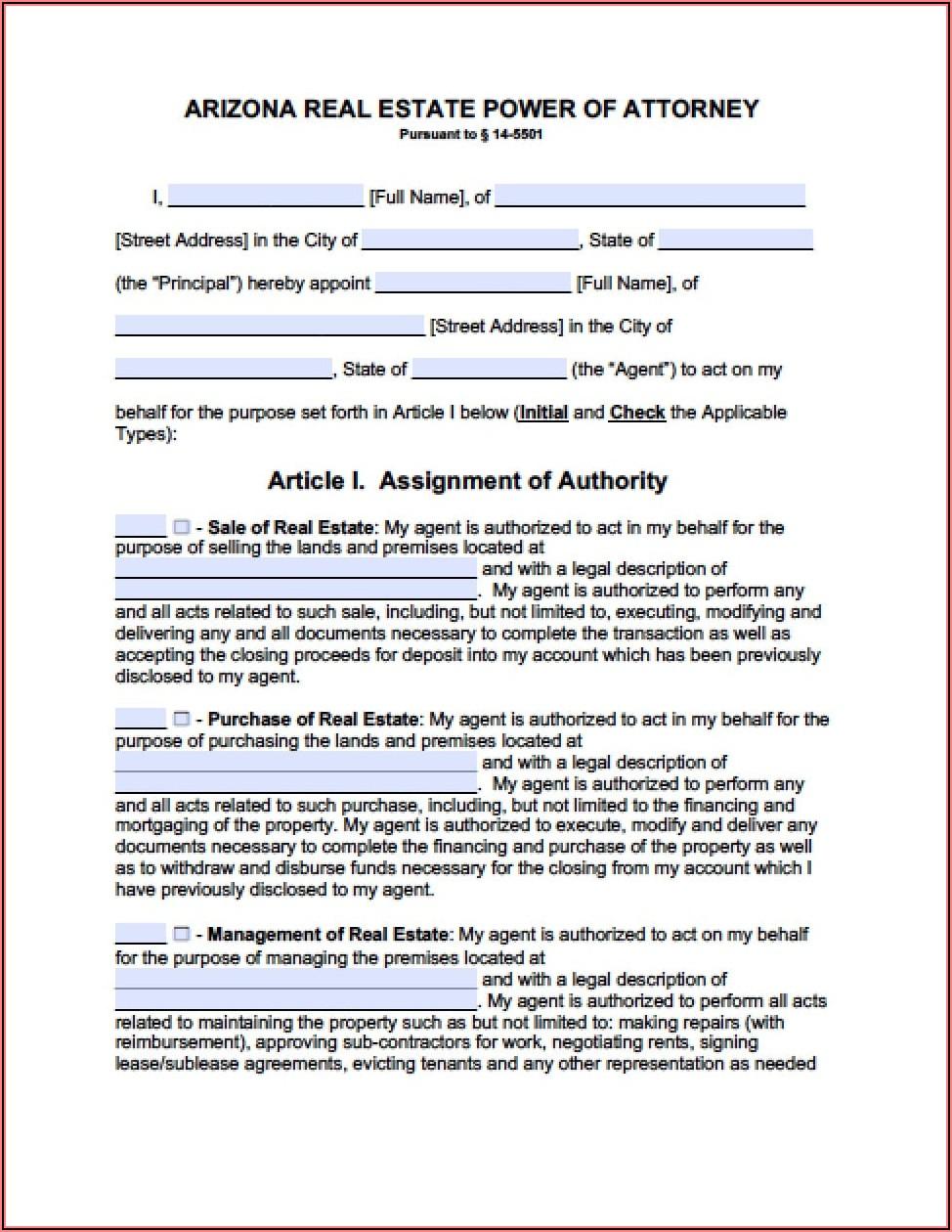 Durable Power Of Attorney Form Arizona