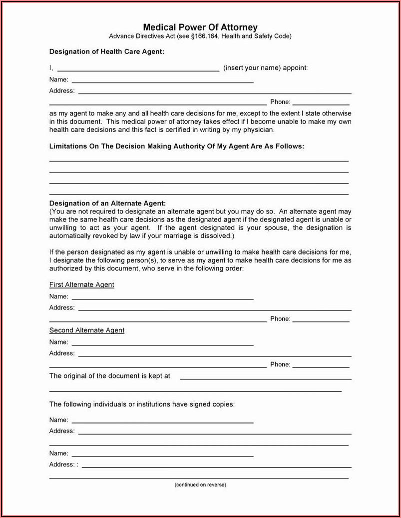 Durable Power Of Attorney Form Colorado