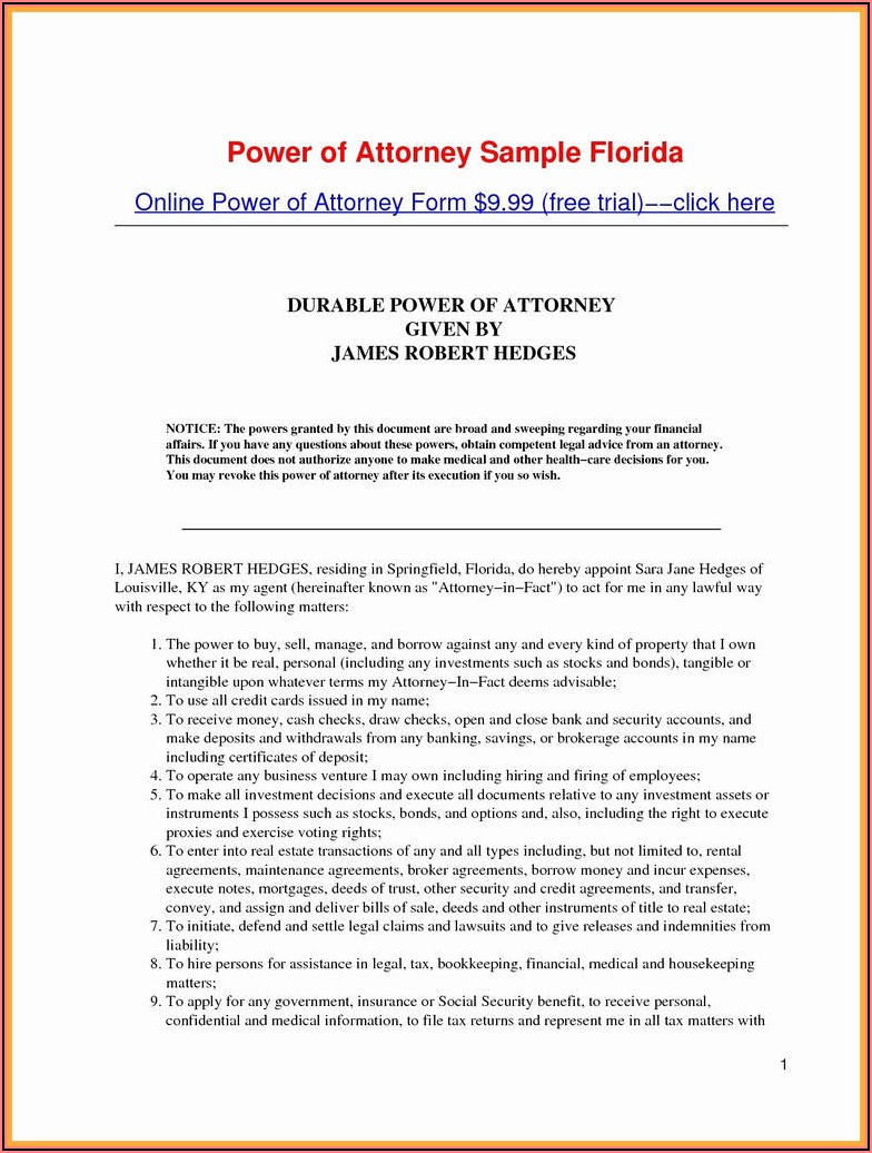 Durable Power Of Attorney Form Md