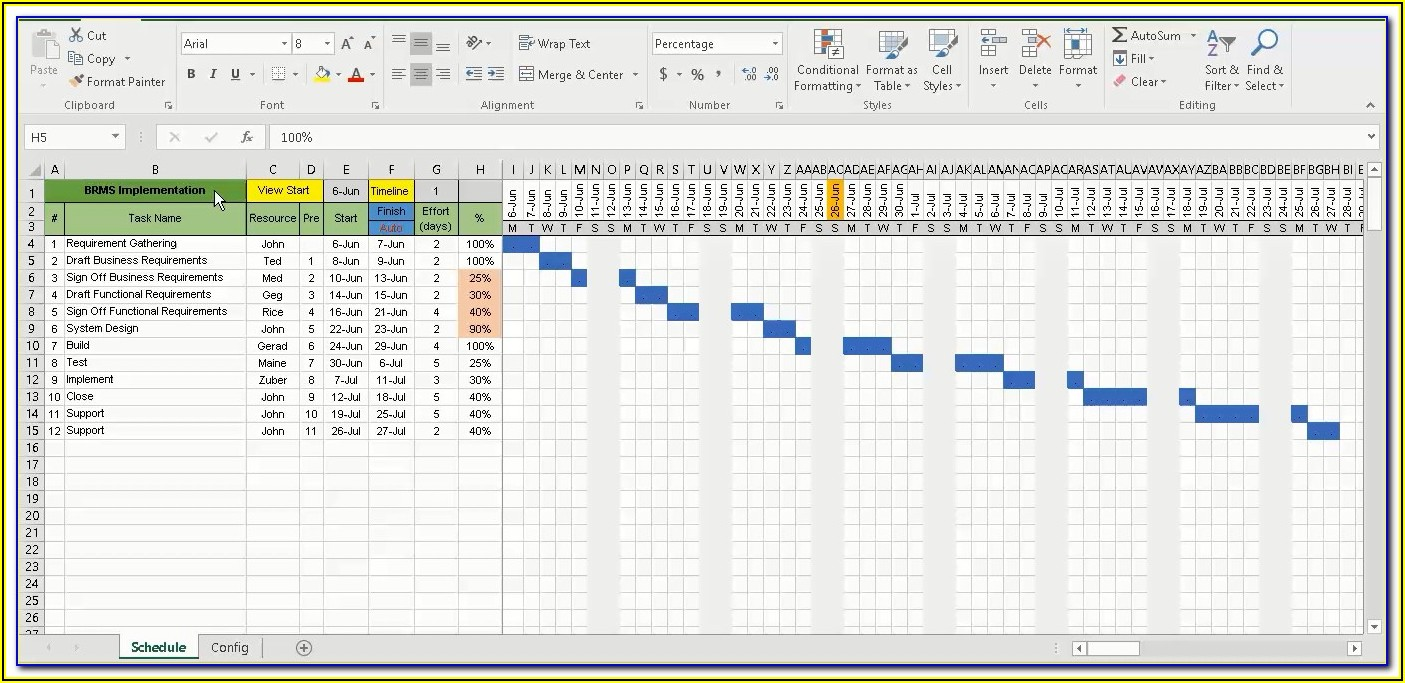 Easy Gantt Chart Template