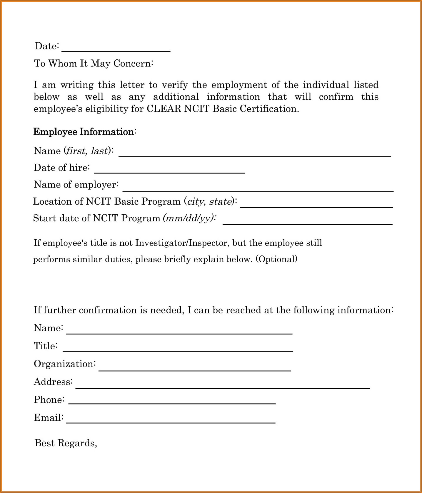 Employee Background Verification Email Format