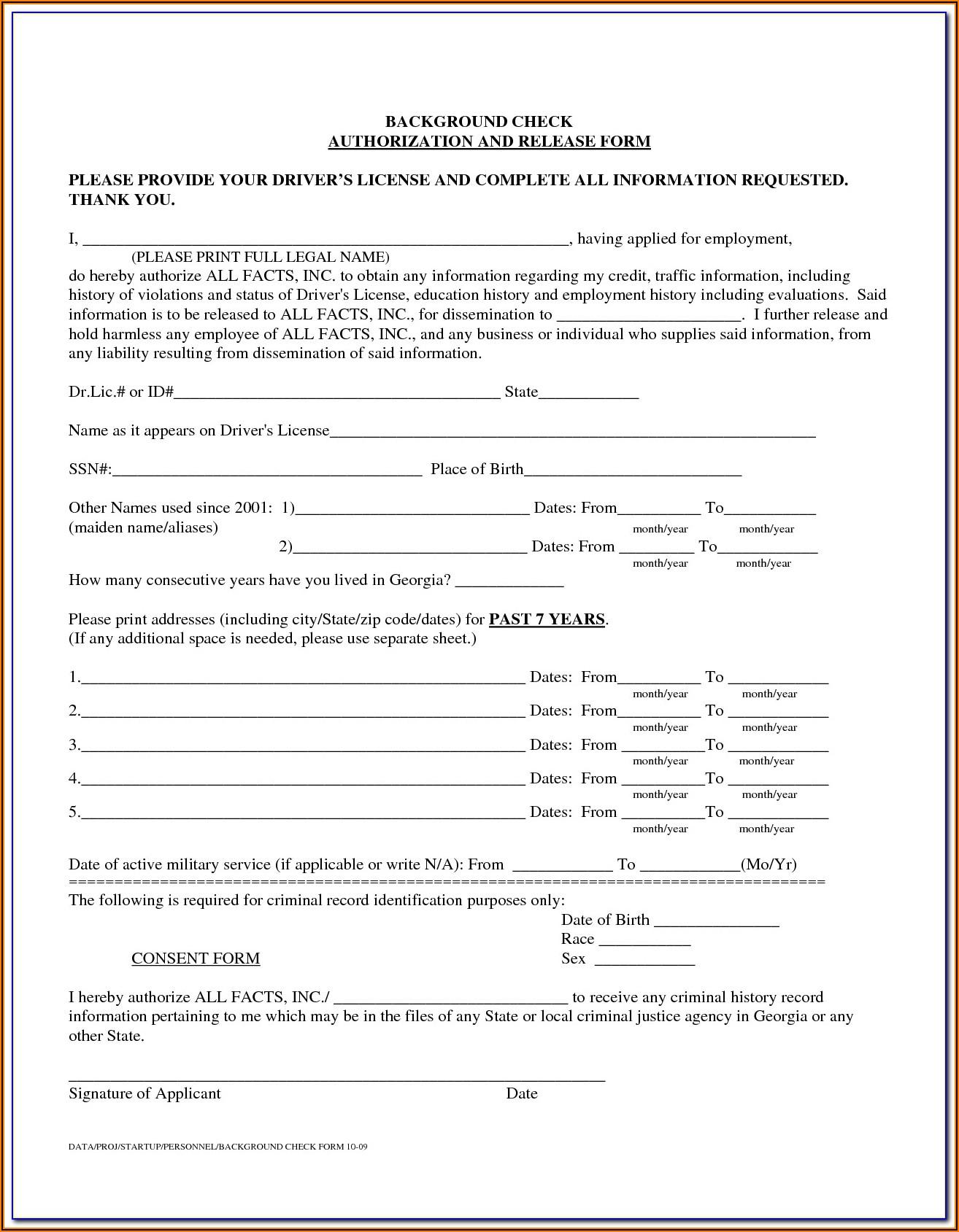 Employee Background Verification Form Format