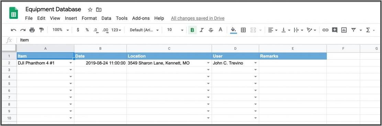 Equipment Tracking Spreadsheet Template
