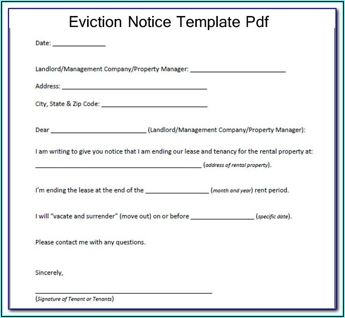 Eviction Notice Sample Pdf
