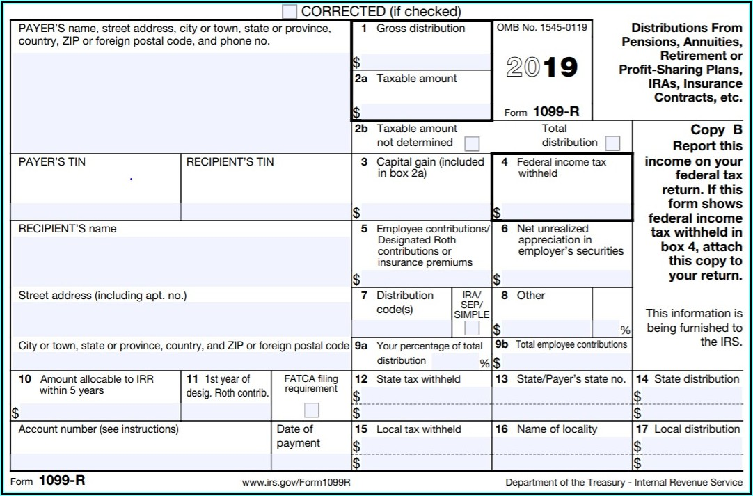 Federal Income Tax Form 1099 R