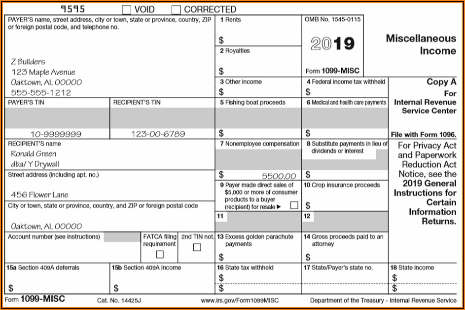 Fill In Form 1099 Misc 2019