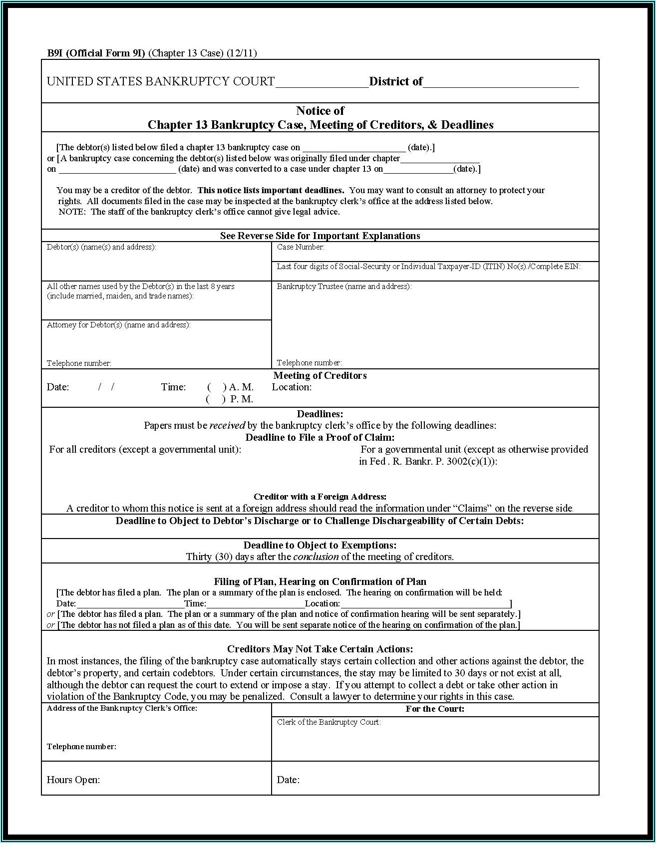 Florida Bankruptcy Forms