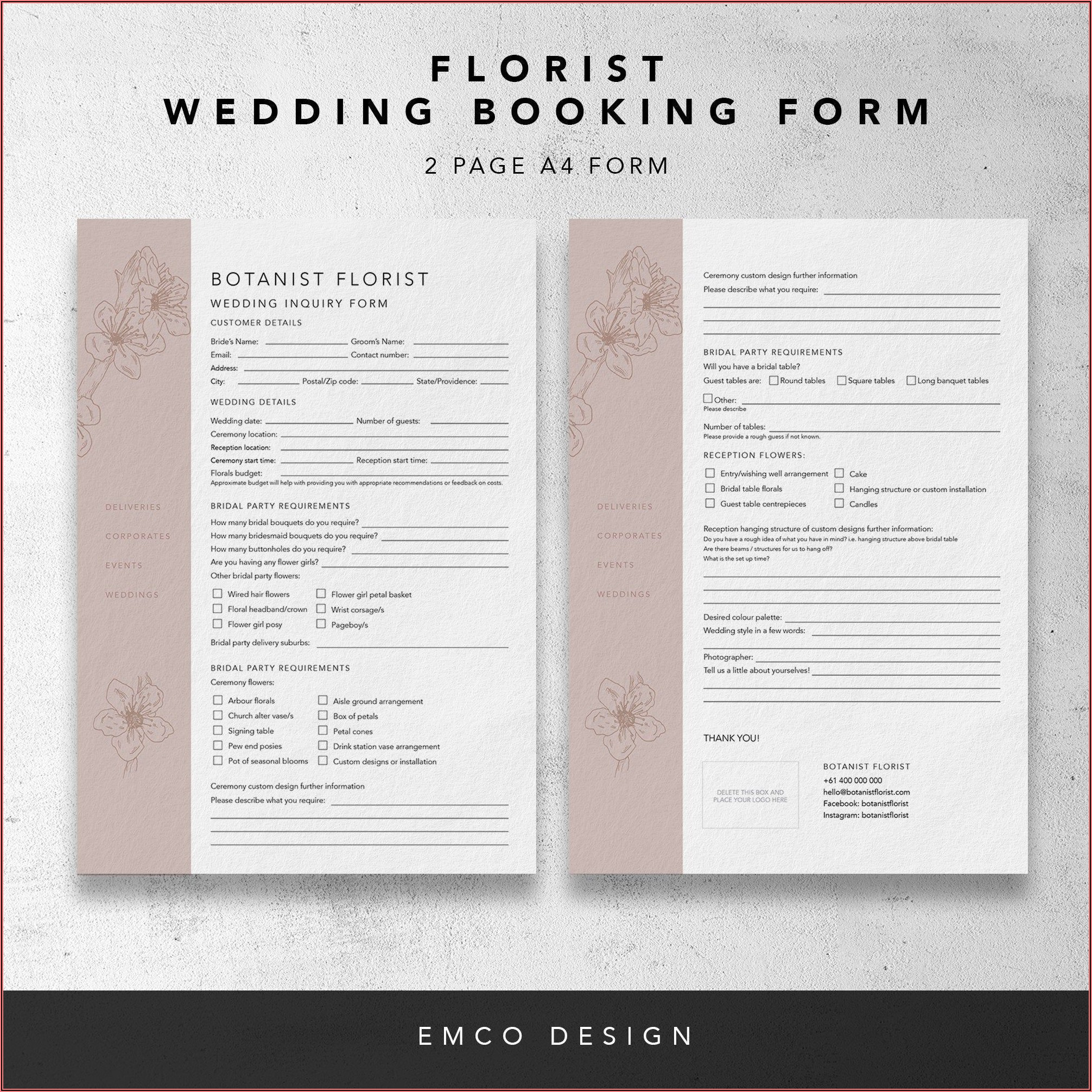 Florist Order Forms