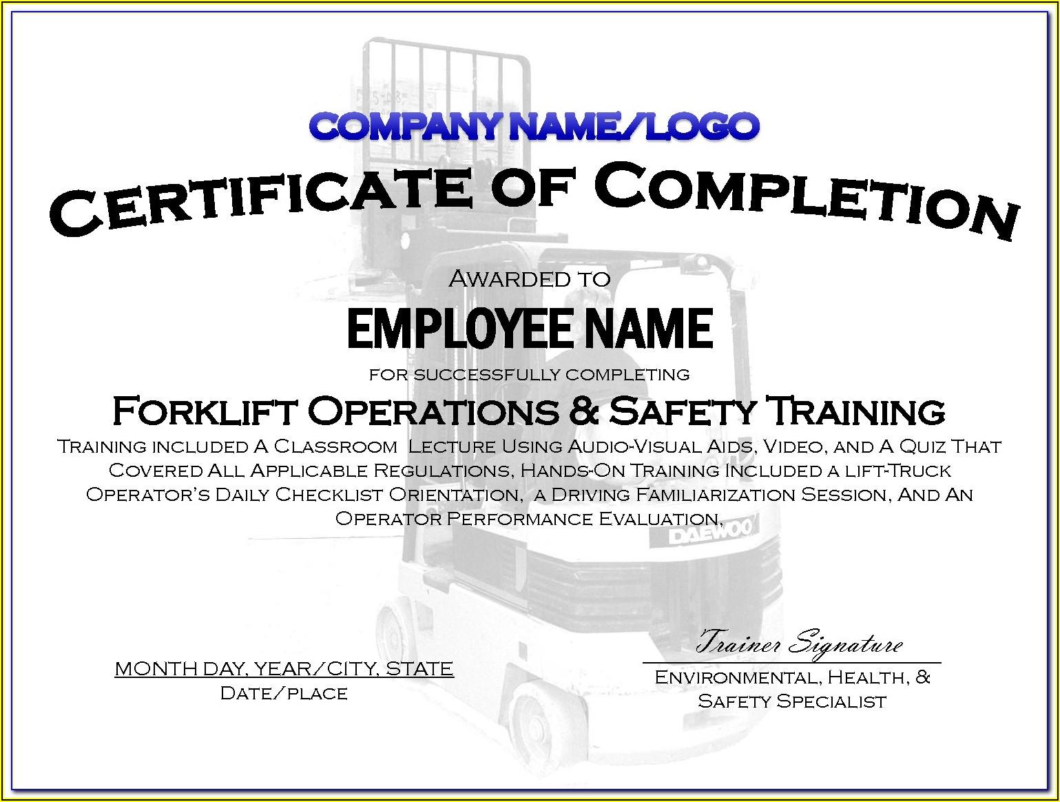 Forklift License Wallet Card Template