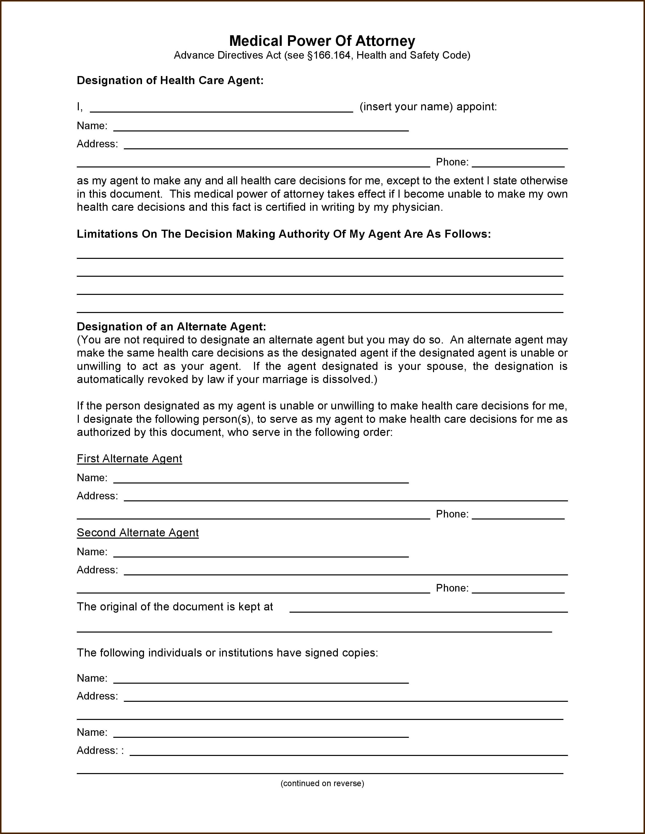 Free Blank Printable Medical Power Of Attorney Form Pdf