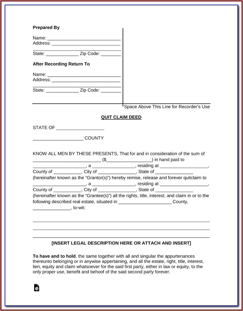 Free Blank Quit Claim Deed Form Colorado