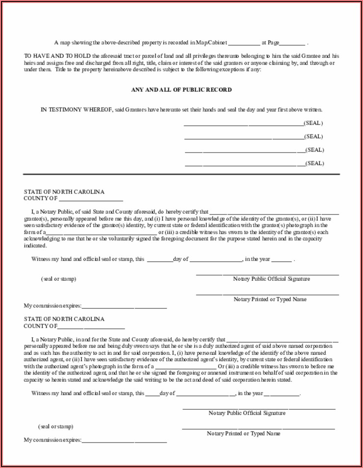 Free Blank Quit Claim Deed Form North Carolina