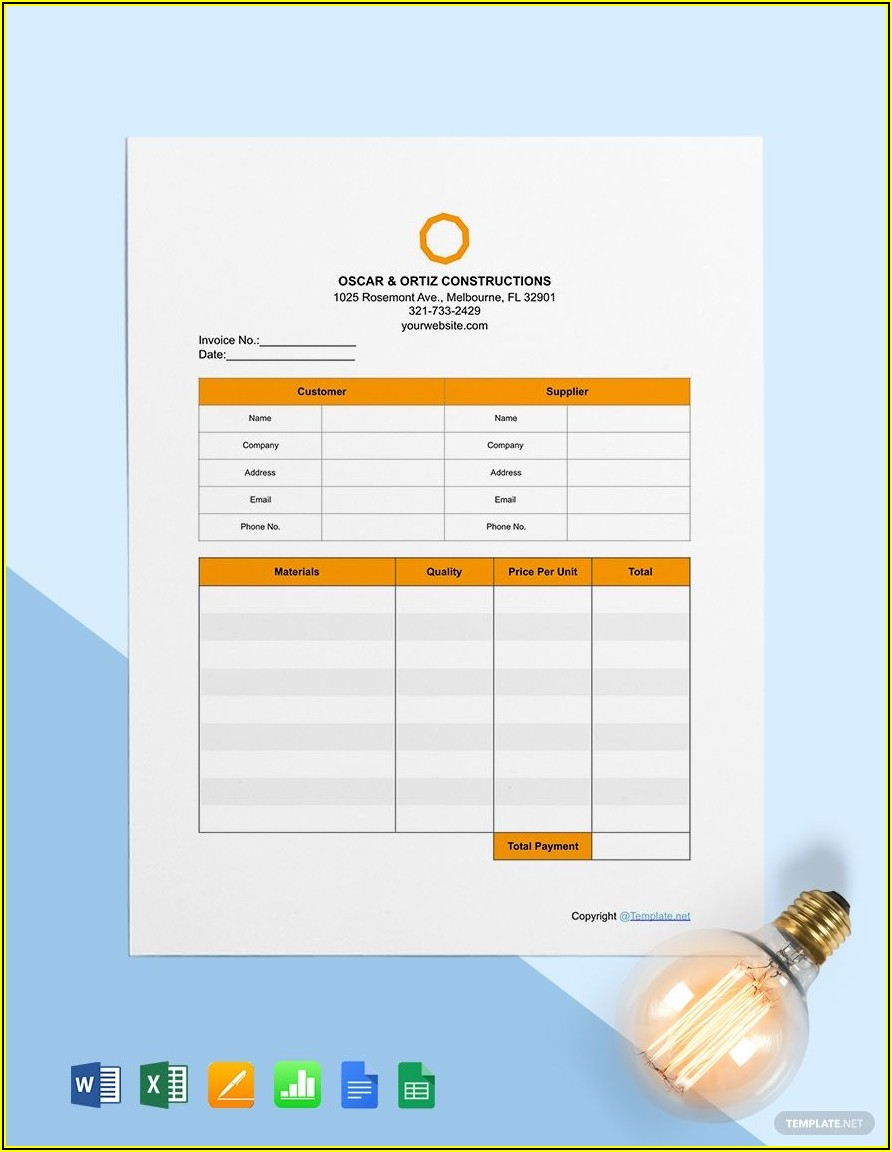 Free Construction Invoice Template Word