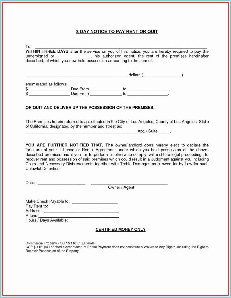 Free Eviction Notice Form Pdf