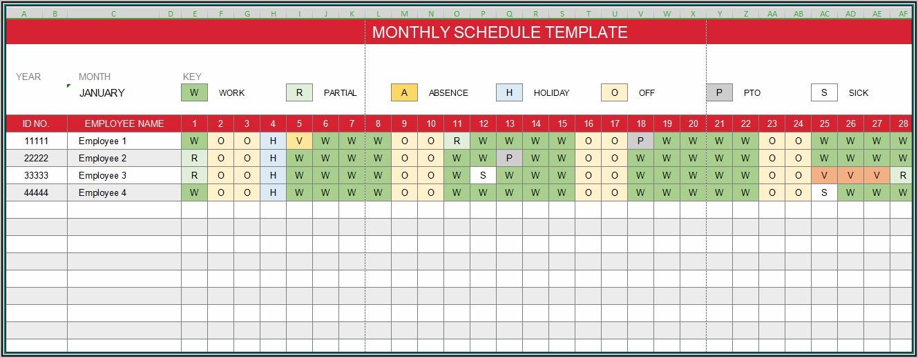 Free Excel Work Schedule Template