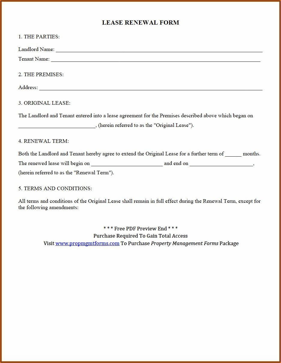 Free Florida Lease Renewal Agreement