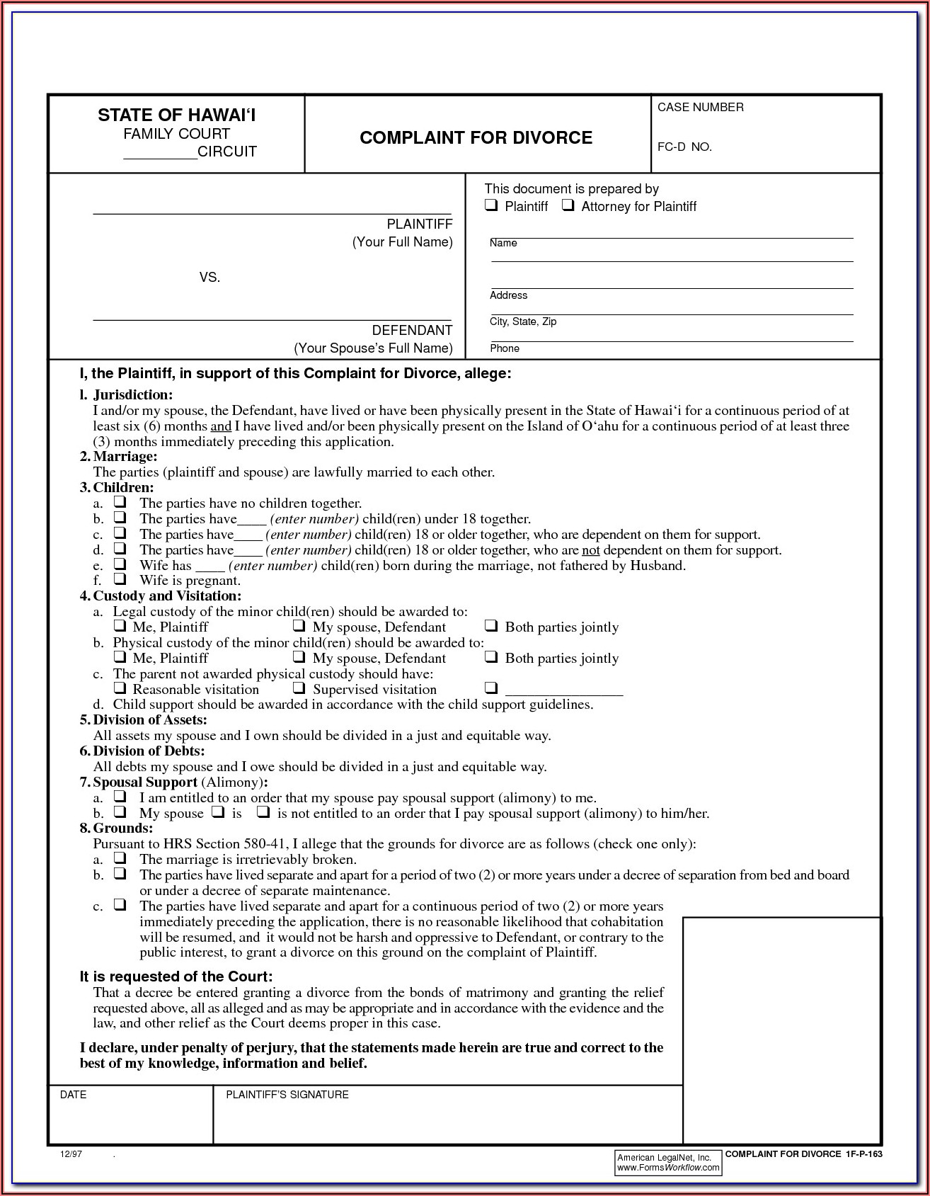 Free Forms To File For Divorce In Georgia