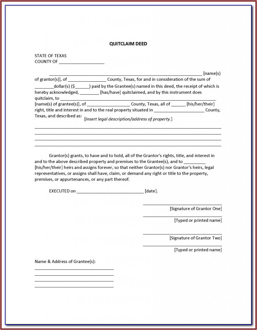 Free Grant Deed Form Texas