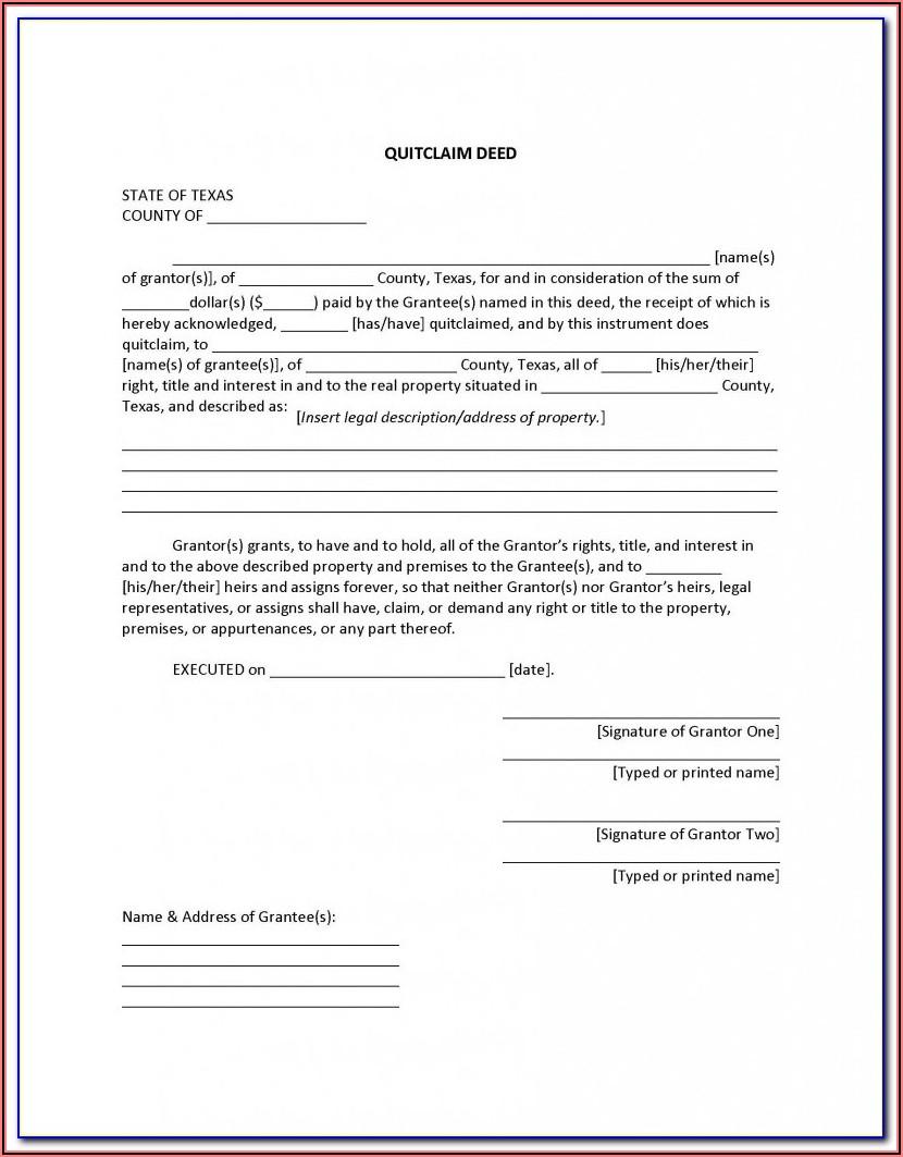 Free Grant Deed Form Texas