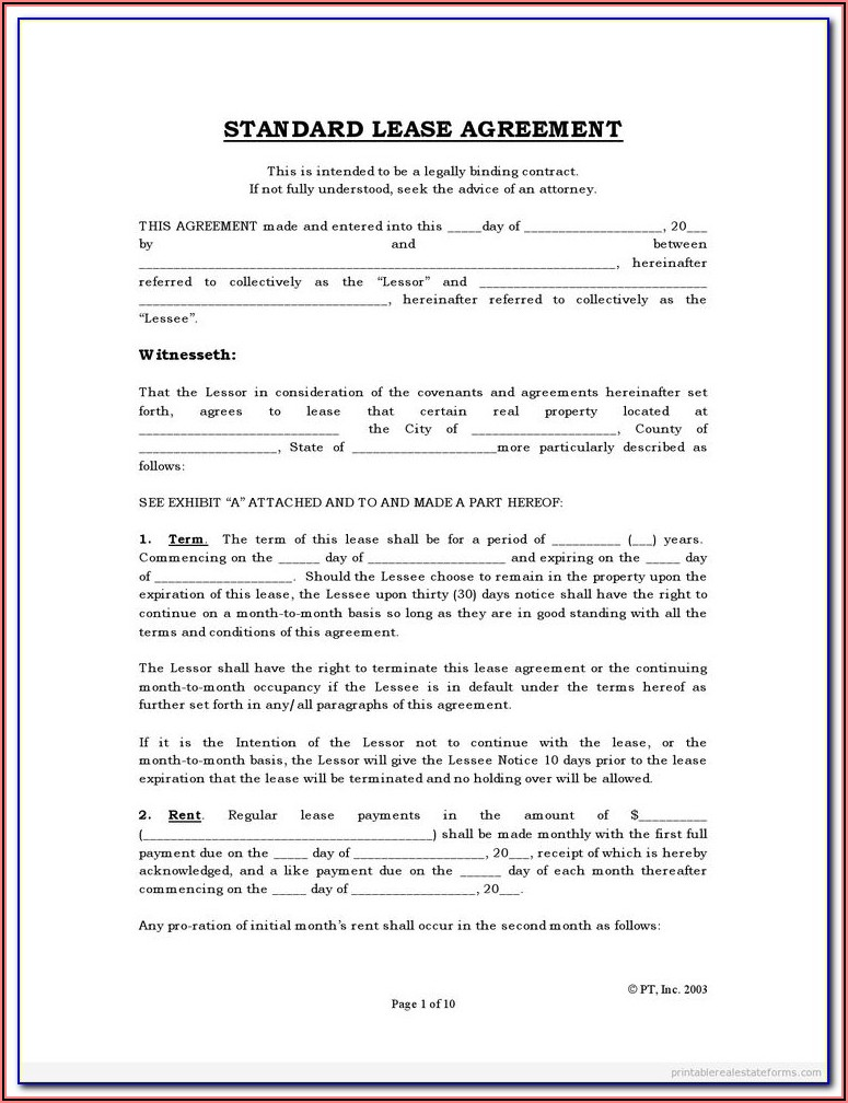 Free House Rental Agreement Form Pdf