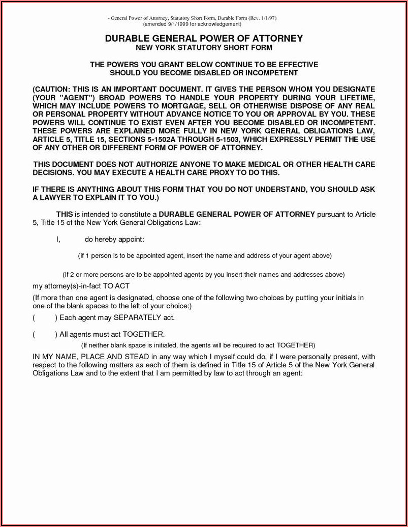 Free Indiana Power Of Attorney Forms To Print