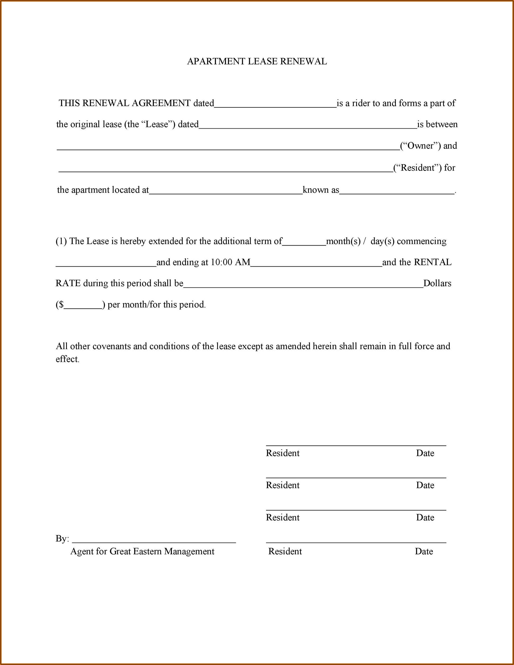 Free Lease Renewal Form