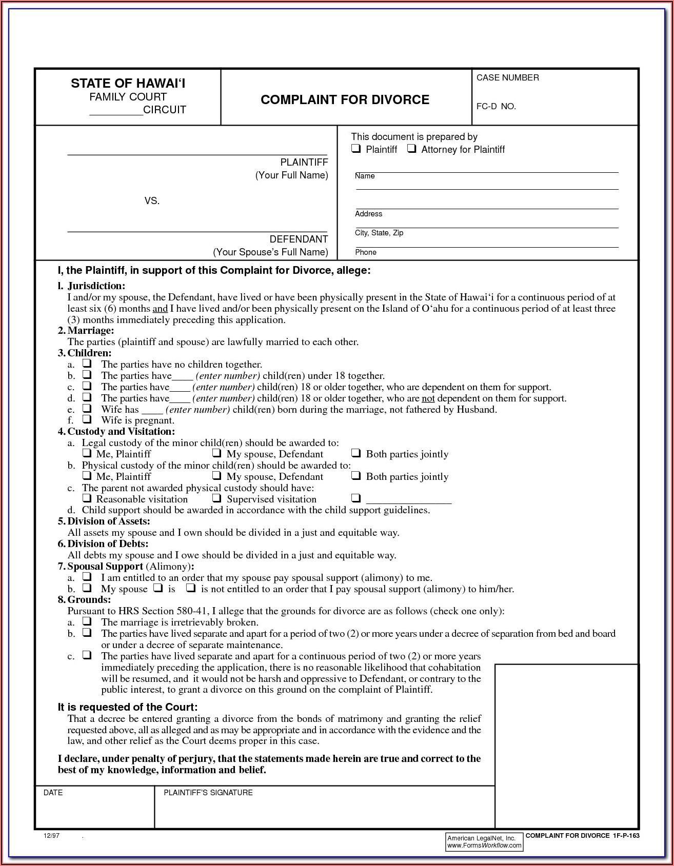 Free Legal Divorce Forms Georgia