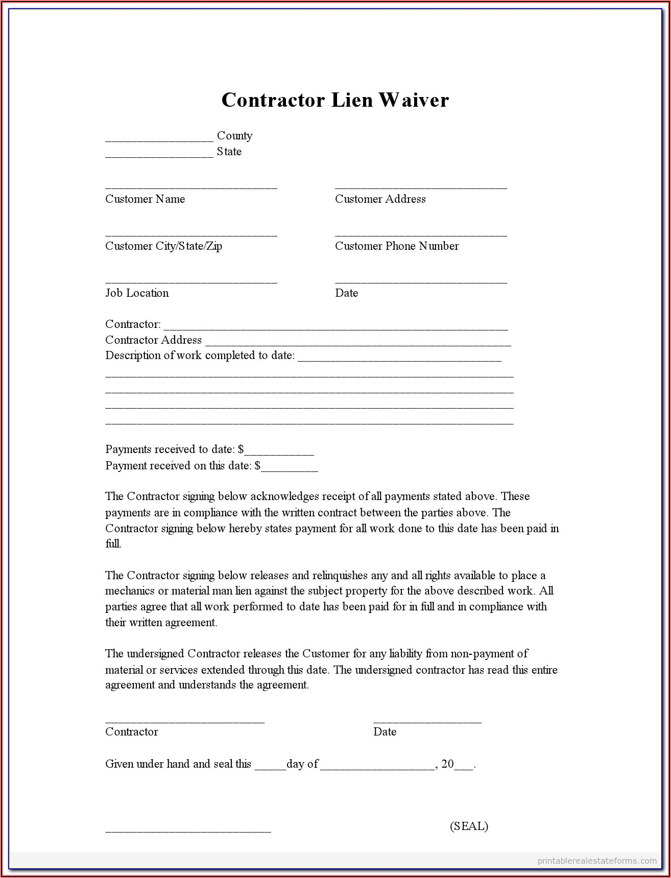 Free Lien Waiver Form Wi