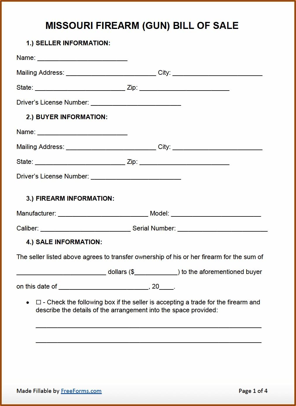 Free Missouri Bill Of Sale Form