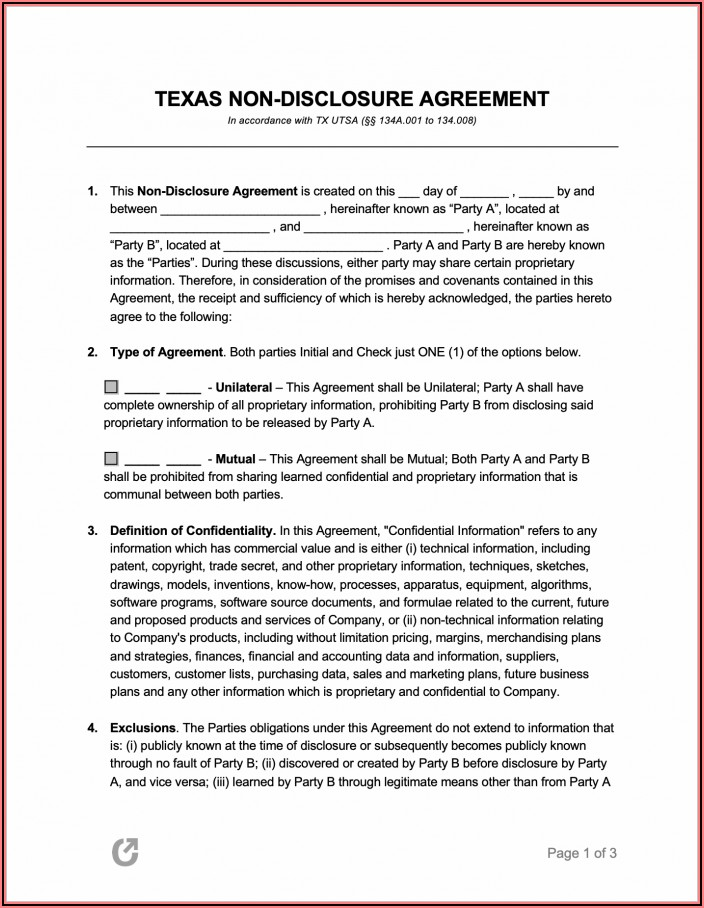 Free Non Disclosure Agreement Form Pdf