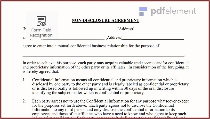 Free Non Disclosure Agreement Template Pdf
