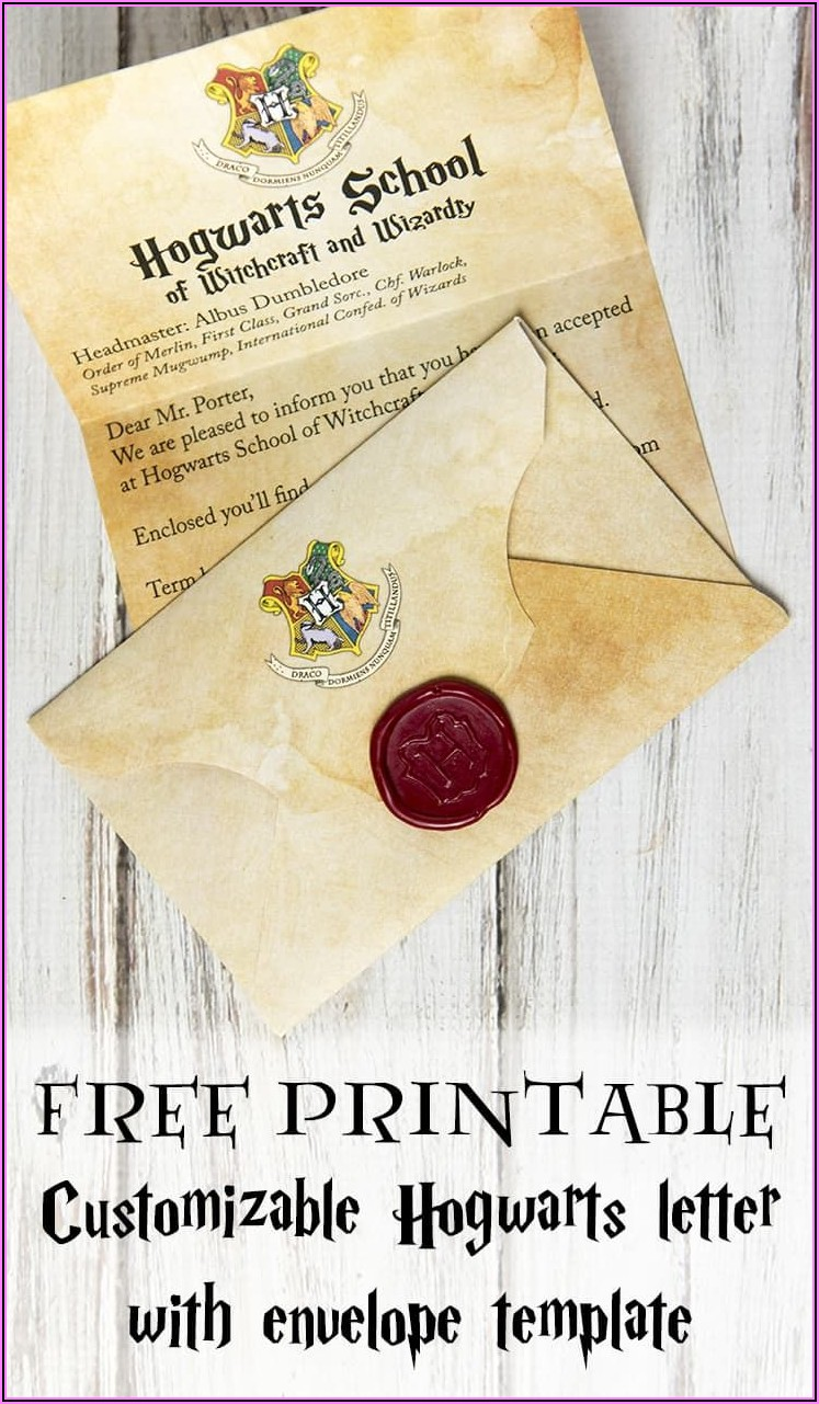 Free Printable Customizable Hogwarts Letter With Envelope Template