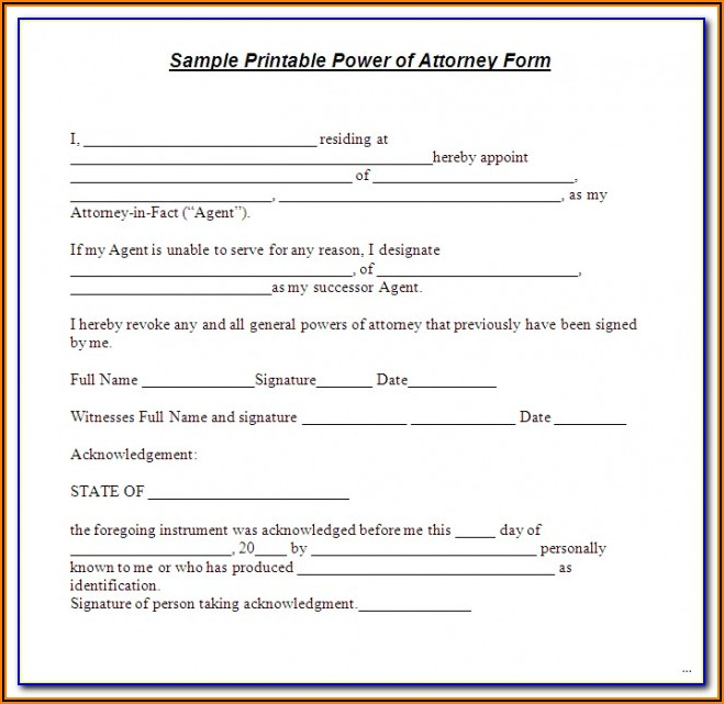 Free Printable Durable Power Of Attorney Form Nc