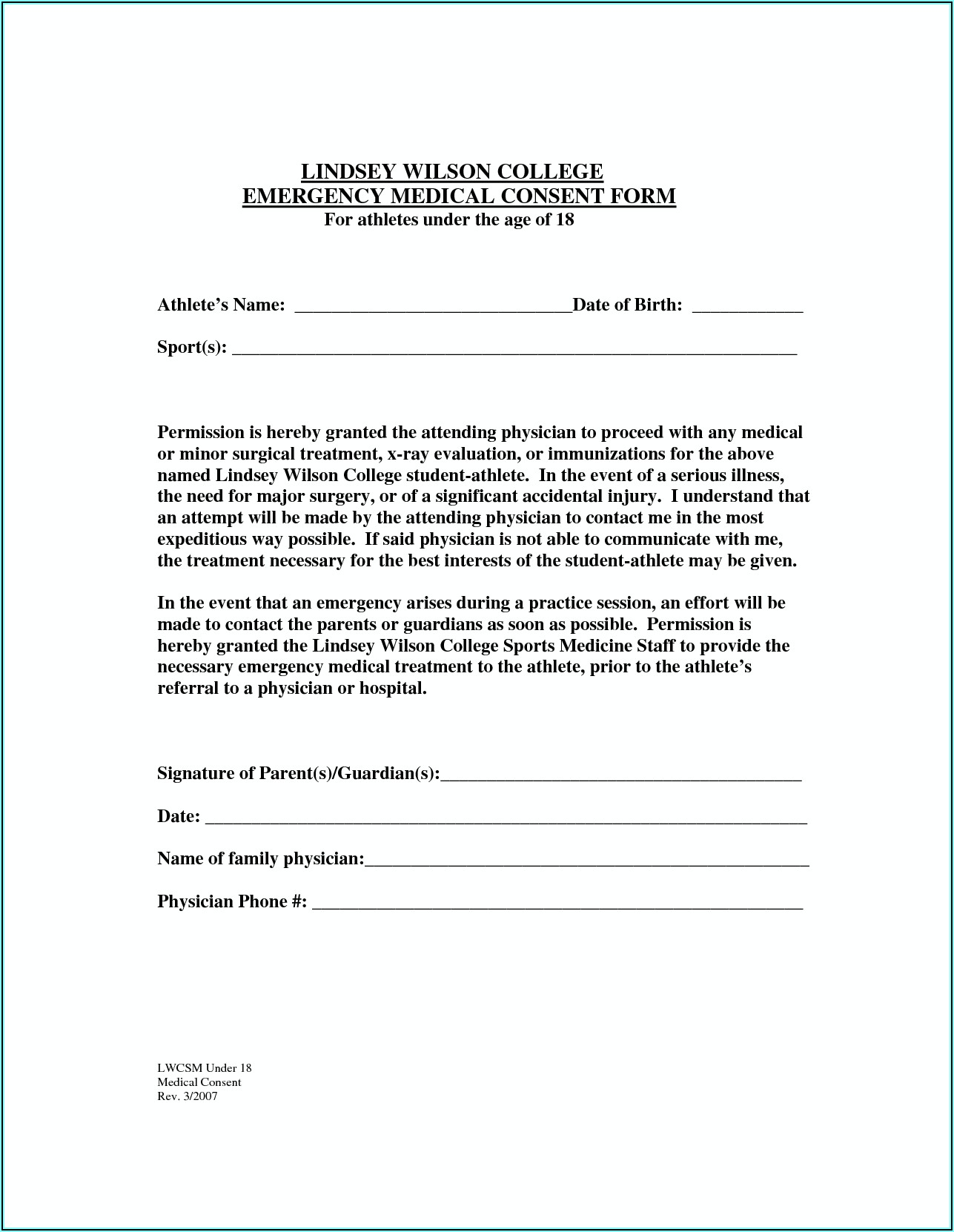 Free Printable Medical Treatment Consent Form