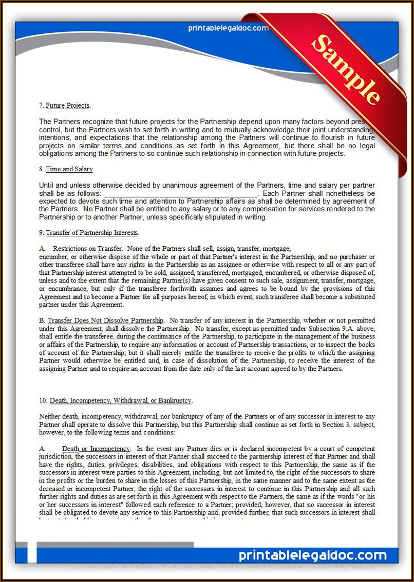 Free Printable Partnership Agreement Form