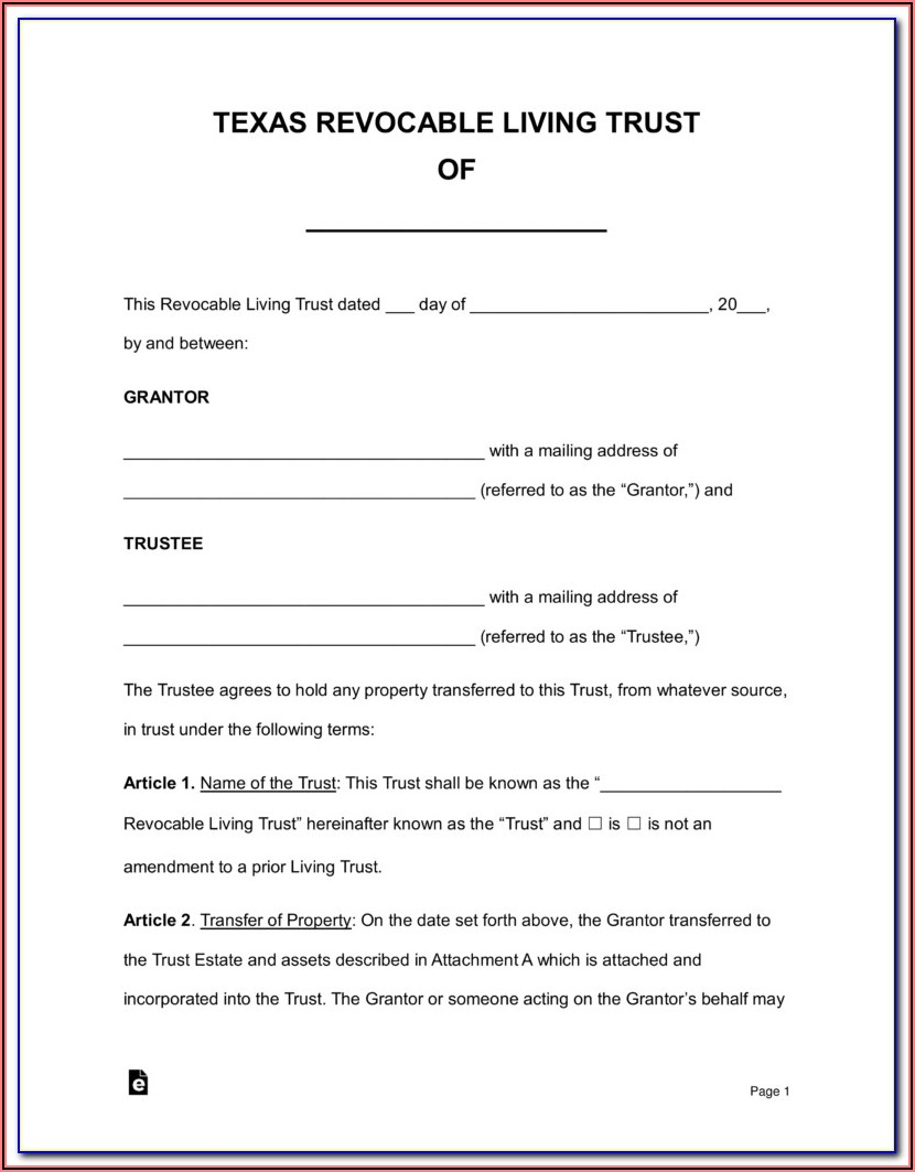Free Printable Revocable Living Trust Form