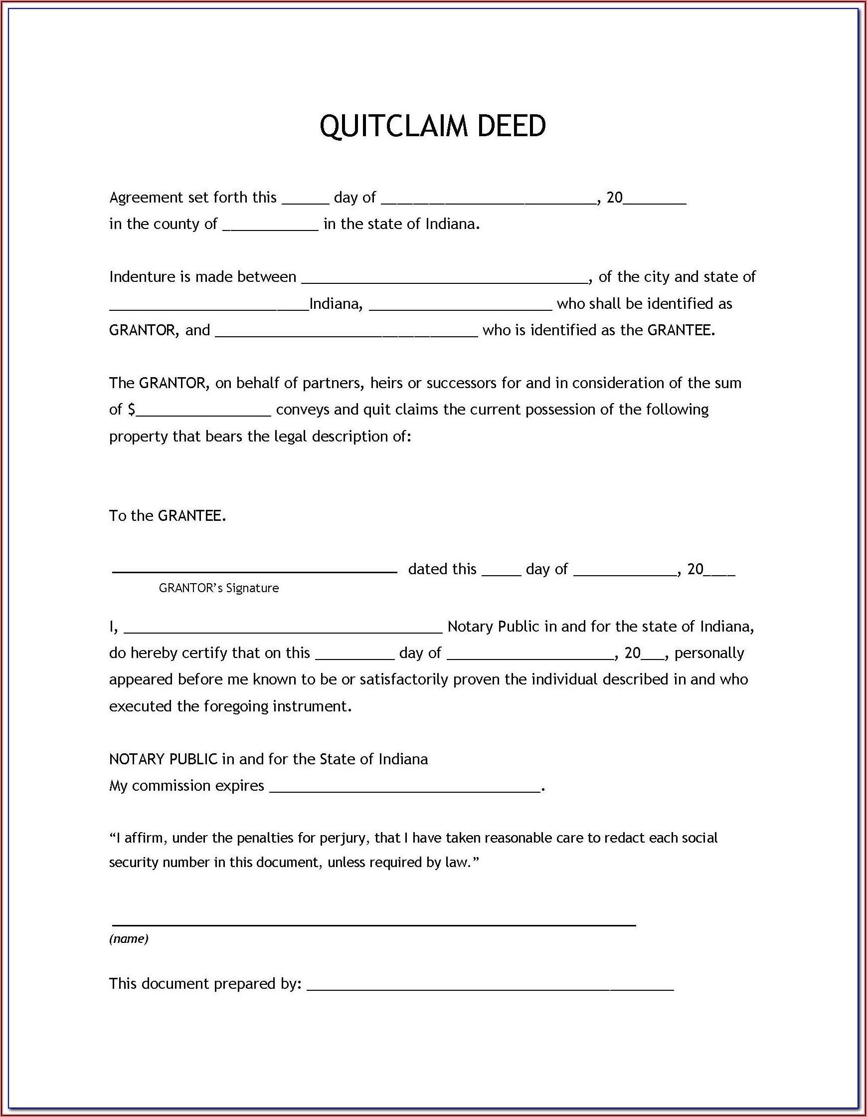 Free Quit Claim Deed Form Missouri