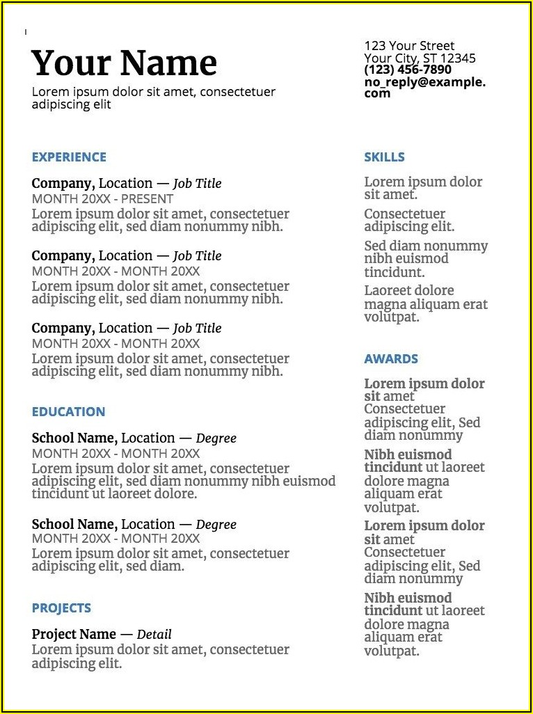 Free Resume Templates Google Doc