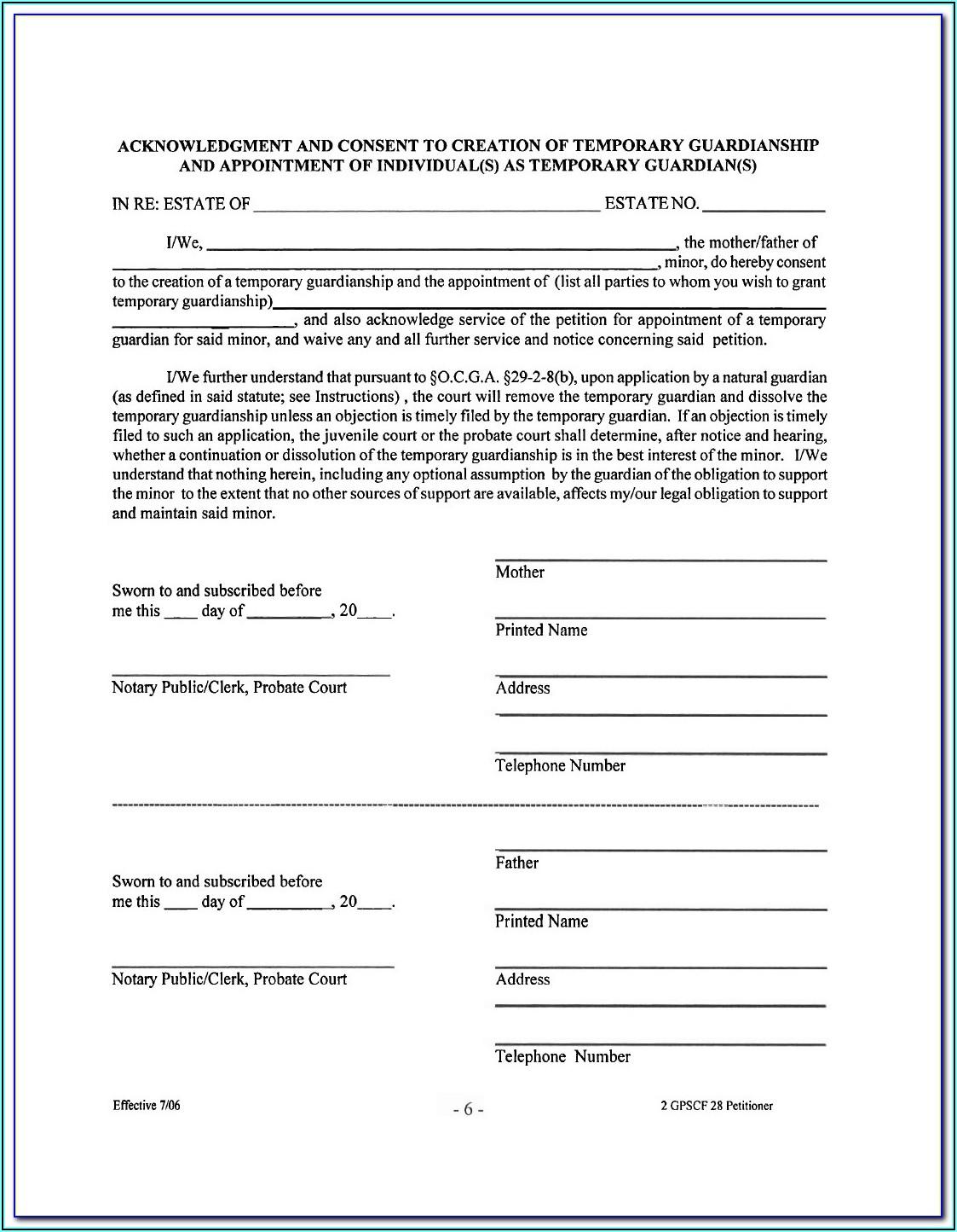 Free Temporary Guardianship Form Louisiana