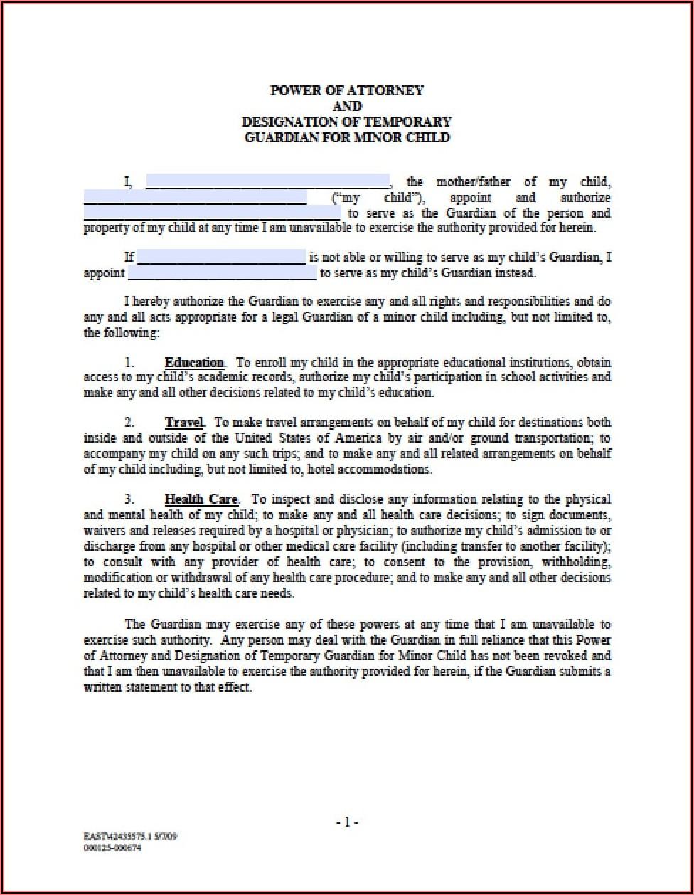 Free Temporary Guardianship Form Ohio