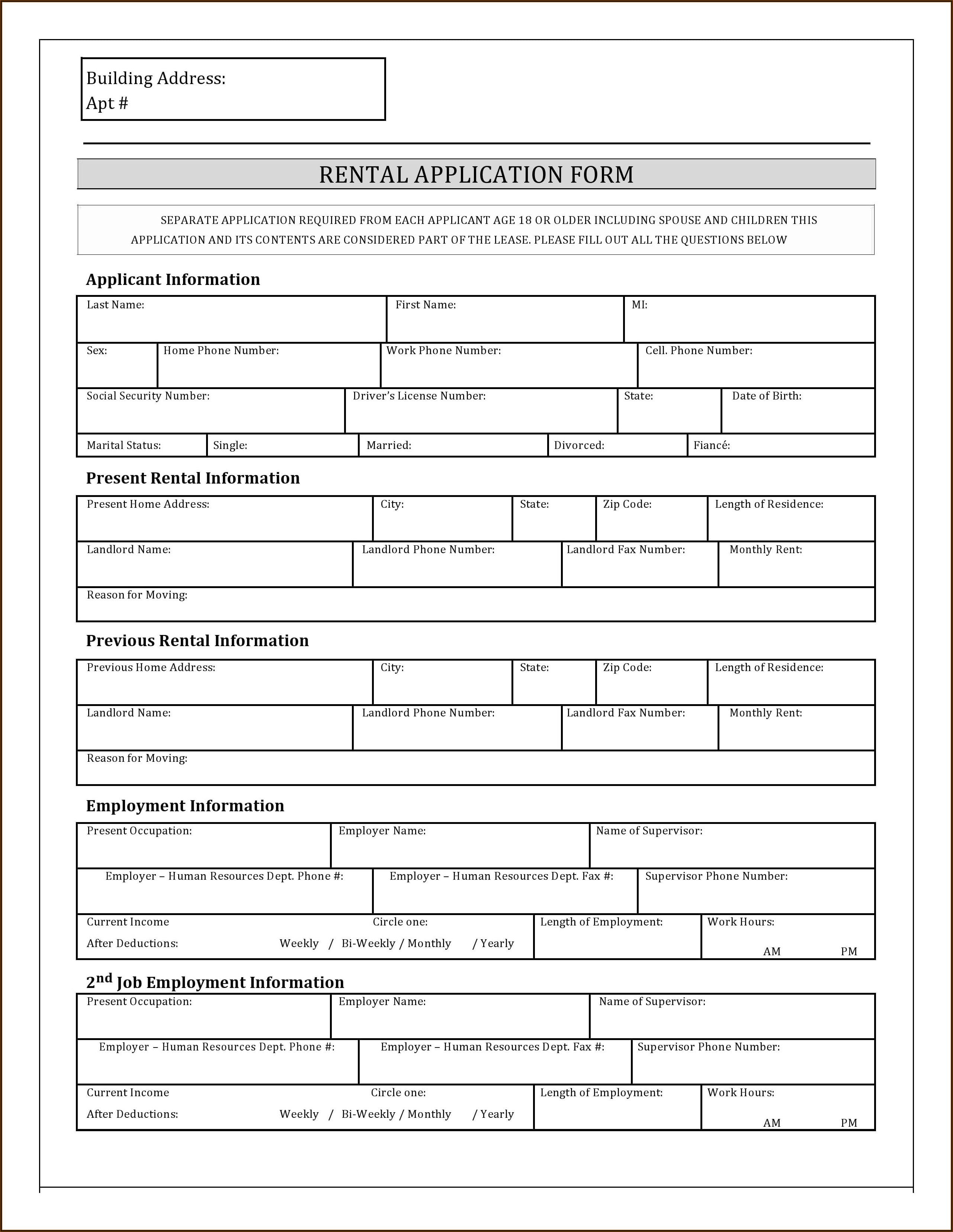 Free Texas Rental Application Form