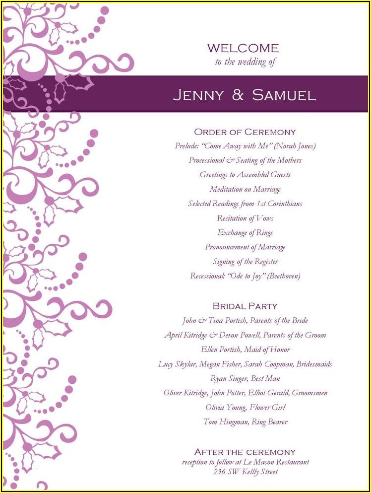 Free Wedding Program Templates Publisher