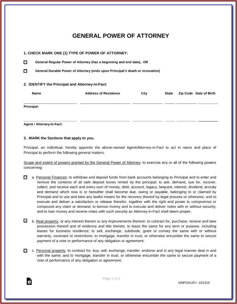 General Durable Power Of Attorney Form Arizona