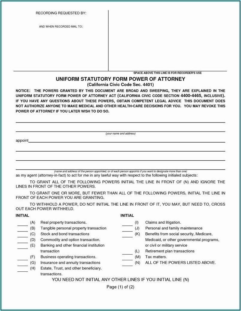General Durable Power Of Attorney Form California