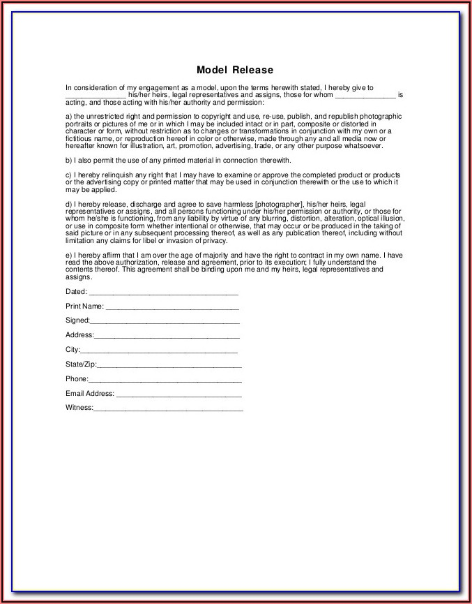 Generic Model Release Form For Photography