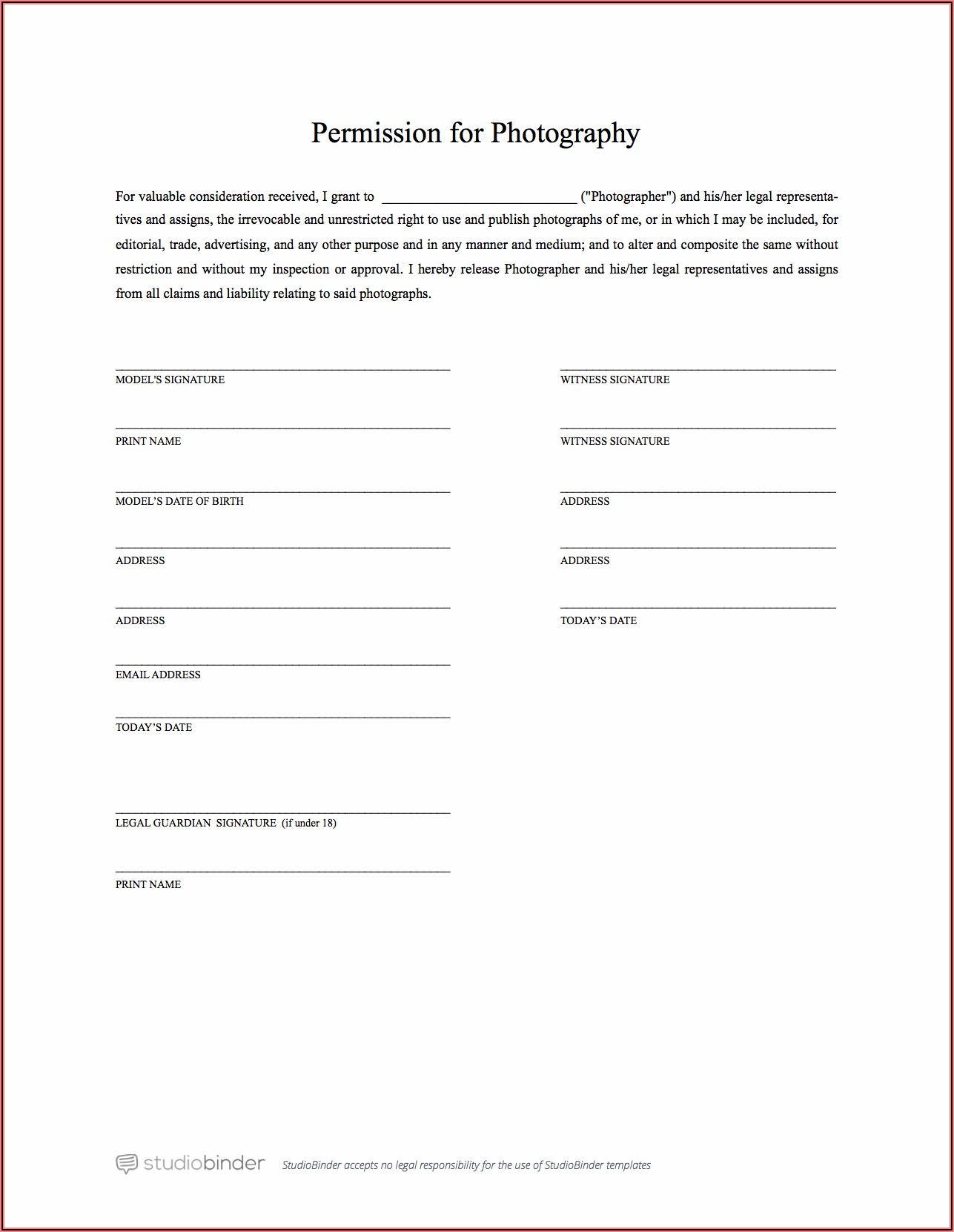 Generic Print Release Form Photography