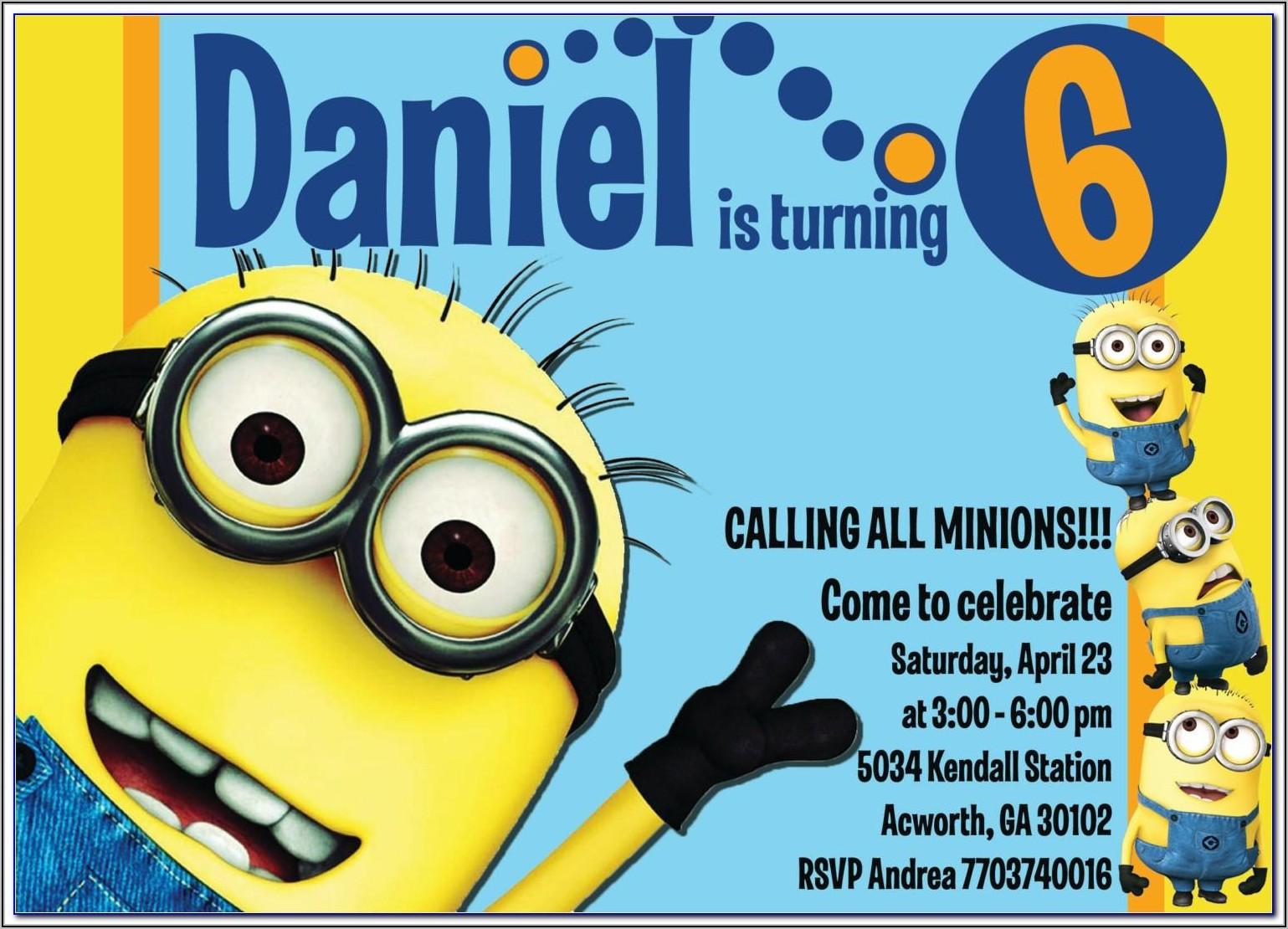 Girl Minion Party Invite Template